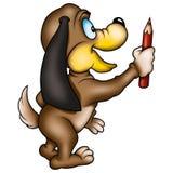 De schilder van de hond met kleurpotlood Royalty-vrije Stock Foto's