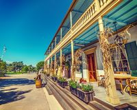 De schilderachtige houten bouw in Oude Stad San Diego royalty-vrije stock foto