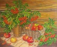 De de schilderende lijsterbes en appelen van het oliestilleven Het originele Schilderen royalty-vrije illustratie