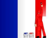 De schilderende Vlag van Frankrijk Stock Afbeelding
