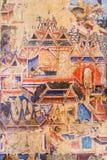 De schilderijen van de meer dan 100 éénjarigenmuurschildering in Thailand Stock Foto's