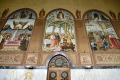 De schilderijen van de Visitationkerk, Jeruzalem stock afbeelding