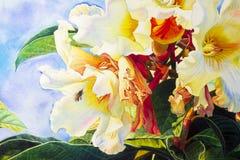 De schilderijen van het waterverflandschap kleurrijk van Herald trompetbloem Royalty-vrije Stock Afbeelding