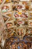 De schilderijen van Michelangelo God en van Jesus bij Kapel, Rome Royalty-vrije Stock Afbeelding