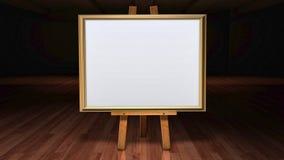 De Schildersezel van de kunst met spatie frame canvas in verdonkerd g Stock Afbeelding