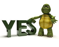 De schildpad met ondertekent ja Stock Foto