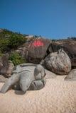 De Schildpadstrand van Lingshui Fu van het grenseiland Stock Fotografie
