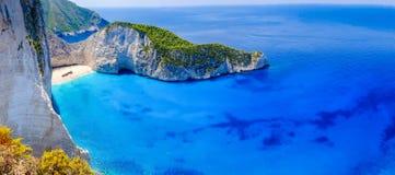 De schipbreukstrand van Zakynthos Het panorama van de Navagiobaai zonder boten royalty-vrije stock foto