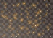 De schitterende gele deeltjes Vonken van het feestof schitteren speciaal lichteffect Vectorfonkelingen op transparante achtergron vector illustratie