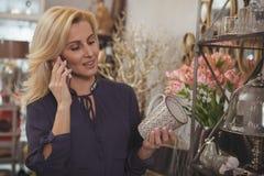 De schitterende rijpe opslag van het vrouwen die thuis decor winkelen stock foto