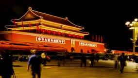 De schitterende Tiananmen-Toren bij nacht in Peking stock video