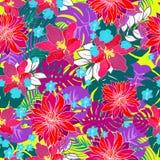 De schitterende tropische bloemen overhandigen getrokken herhaald patroon Royalty-vrije Stock Foto's