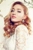 De schitterende vrouw draagt elegante kantkleding en luxueuze halsband Royalty-vrije Stock Foto's