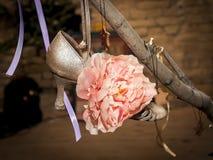 De schoen en de linten van de bloemdans Royalty-vrije Stock Afbeelding