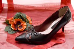 De schoen van dames op rode doek Royalty-vrije Stock Fotografie