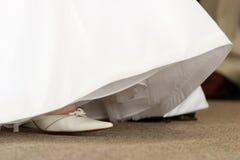 De schoen van de bruid Stock Foto's