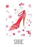 De schoen van waterverfvrouwen met dalingen Royalty-vrije Stock Foto