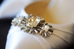 De schoendetail van bruiden Stock Foto's