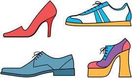 De schoenenâ Vectorillustratie van mannen en van vrouwen Stock Afbeeldingen