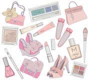De schoenen, de make-up en zakken het elementenreeks van vrouwen. Stock Foto's