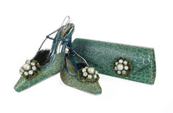 De schoenen en de beurs van Jeweled Royalty-vrije Stock Fotografie