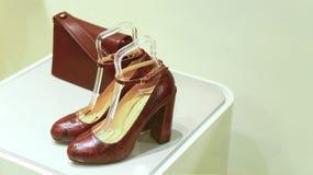 De schoenen en de handtas van het damesleer Royalty-vrije Stock Fotografie