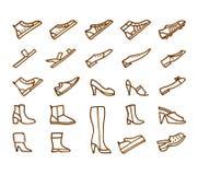 De schoenen overhandigen getrokken geplaatste pictogrammen Stock Afbeelding
