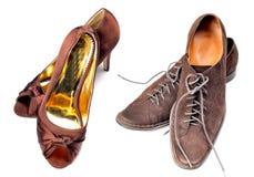 De schoenen van dames en van mijnheren royalty-vrije stock foto