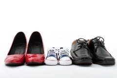 De schoenen van de familie Stock Afbeeldingen