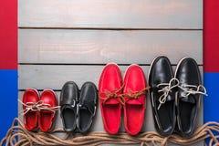 De schoenen van de familieboot Royalty-vrije Stock Fotografie