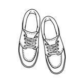 De schoenen van de krabbelcontour beeldverhaaltennisschoen op wit wordt geïsoleerd dat Royalty-vrije Stock Afbeelding