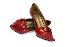 De schoenen van de rode vrouw Stock Foto