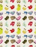De schoenen van het beeldverhaal geplaatst naadloos patroon Stock Afbeeldingen