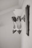 De schoenen van het bruidhuwelijk met hoge hielen en zilveren briljante oorringen op schapen` s kleding Stock Afbeeldingen
