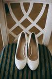 De schoenen van het bruidhuwelijk met hoge hielen en zilveren briljante oorringen op schapen` s kleding Royalty-vrije Stock Afbeelding