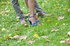 De schoenen van het huwelijkspaar Stock Afbeelding