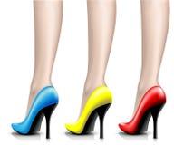 De Schoenen van illustratievrouwen van een vernis op been Royalty-vrije Stock Foto's