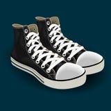 De schoenen van leersporten met wit kant royalty-vrije illustratie