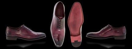 De schoenen van mensen op zwarte achtergrond Royalty-vrije Stock Afbeeldingen