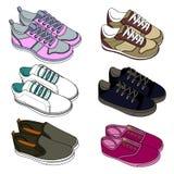 De schoenen van de sport Tennisschoenen schets voor volwassenen en kinderen royalty-vrije stock afbeeldingen