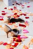 De schoenen van vrouwen op de vloer royalty-vrije stock afbeeldingen