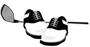 De schoenenillustratie van de golfclub en van het golf Stock Fotografie