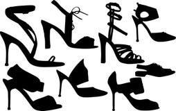 De schoenenvector van vrouwen Stock Afbeeldingen