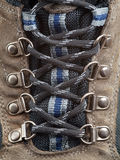 De schoenveter voordetail van de Laars van de wandeling royalty-vrije stock foto's