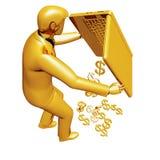 De schokken van de zakenman uit van het laptop contante geld stock illustratie