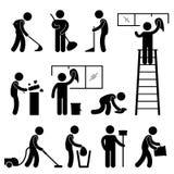 De schone Was veegt het Pictogram van de Arbeider van de Stofzuiger af Royalty-vrije Stock Afbeelding