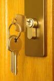 De schoof van sleutels wordt opgenomen in een sleutelgat royalty-vrije stock foto's