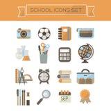 De school levert geplaatste pictogrammen Stock Afbeelding