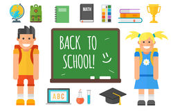 De school levert kantoorbehoeftenmateriaal en schoolkind vectorillustratie Royalty-vrije Stock Fotografie