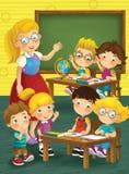 De school - onderwijs - illustratie voor de kinderen Royalty-vrije Stock Foto